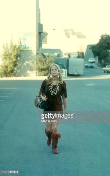 American actress Barbara Sigel walks on the Universal Studios lot circa November 1970 in Universal City California