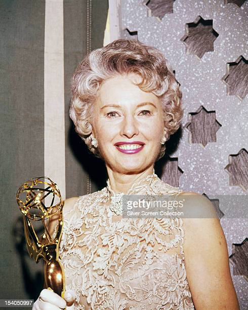American actress Barbara Stanwyck with her Emmy Award at the Moulin Rouge Nightclub Los Angeles 16th May 1961 Stanwyck won for Outstanding...