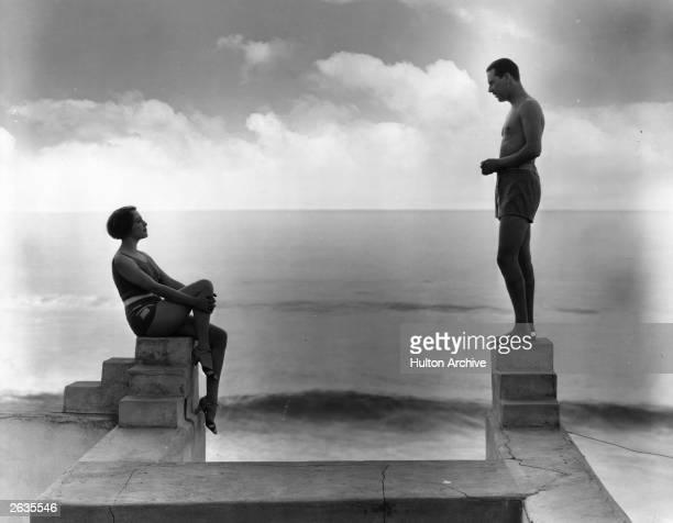 American actress Bebe Daniels with actor Ben Lyon at their California beach home.