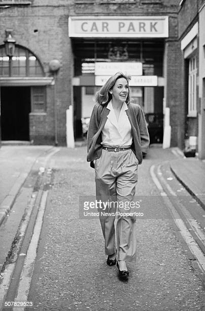 American actress Bess Armstrong pictured walking down a street in Soho London on 3rd April 1984