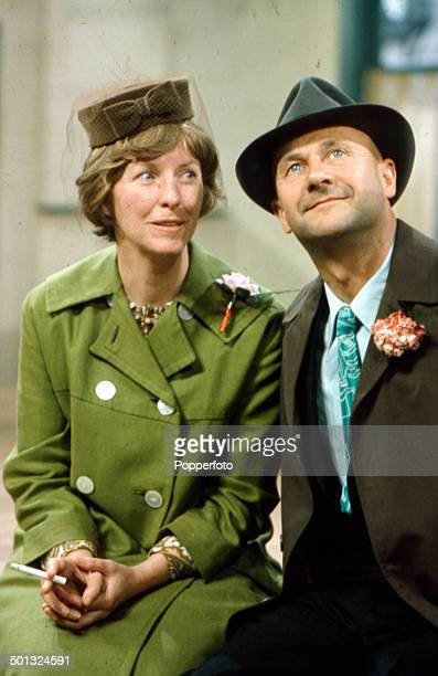 American actress Betsy Blair pictured with English actor Donald Pleasence in a scene from the television drama series 'Love Story A Marriage of...