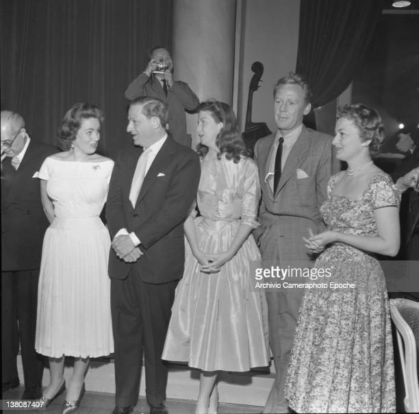 American actress Betsy Blair portrayed in a group shot with Nadia Gray Jules Dassin and Jhonson Van Cannes 1950