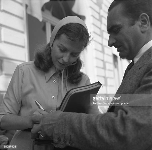American actress Betsy Blair portrayed while signing an autograph Cannes 1950