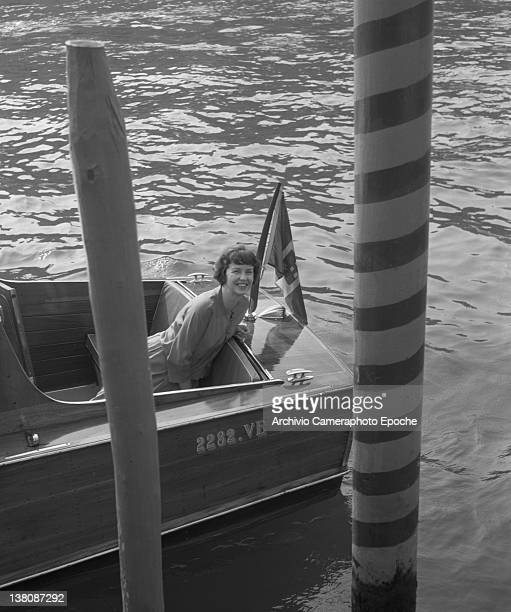 American actress Betsy Blair portrayed while sitting on a water taxi Venice 1960