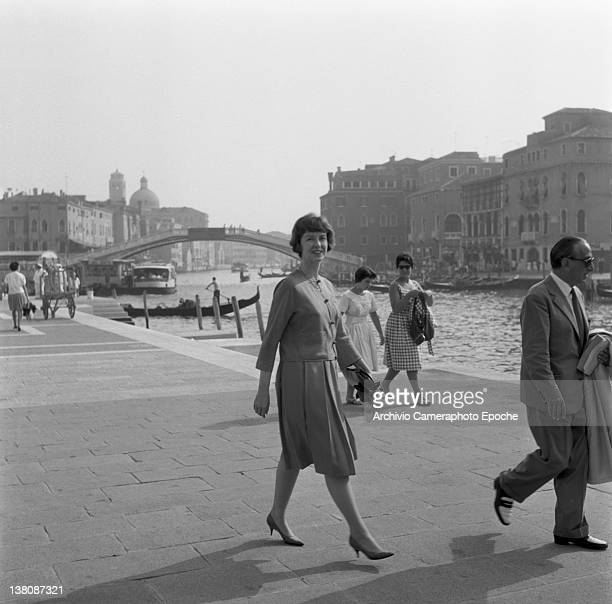 American actress Betsy Blair portrayed while walking outside the railway station Venice 1960