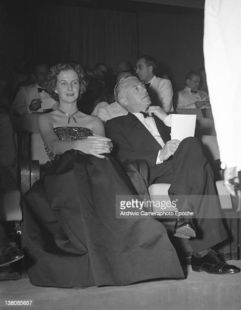 American actress Betsy Blair sitting in the front row during the Venice Movie Festival 1949 American Actress