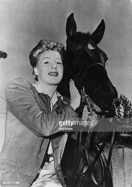 American actress Betty Hutton takes up horse riding 1946