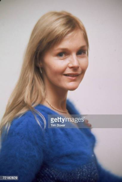 American actress Carol Lynley poses for a portrait in a blue sweater 1970s