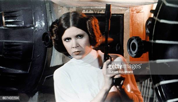 American actress Carrie Fisher on the set of Star Wars Episode IV A New Hope written directed and produced by Georges Lucas