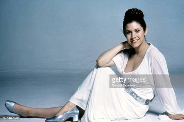 American actress Carrie Fisher on the set of Star Wars Episode IV