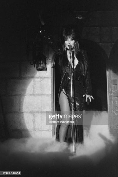 American actress Cassandra Peterson as Elvira, Mistress of the Dark, in Cannes, France, 1987.