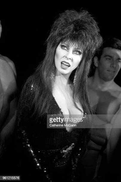 American actress Cassandra Peterson in character as Elvira Mistress of the Dark at a party in September 1988 in New York City New York