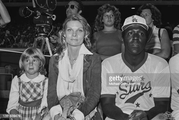 American actress Cathy Lee Crosby and her partner, actor Richard Roundtree at a Los Angeles Dodgers versus celebrities baseball game, Los Angeles,...