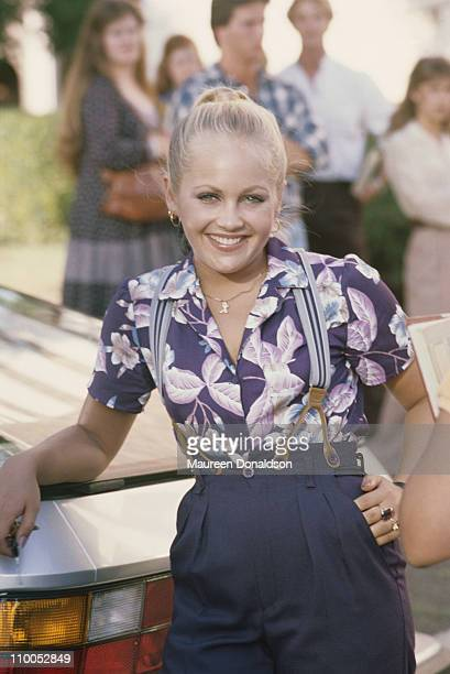 American actress Charlene Tilton on the set of the television soap opera 'Dallas' circa 1980
