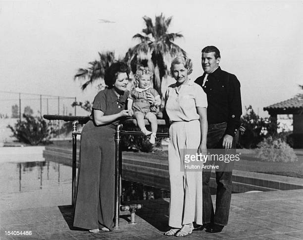 American actress Clara Bow in Palm Springs California with her son and two friends circa 1935