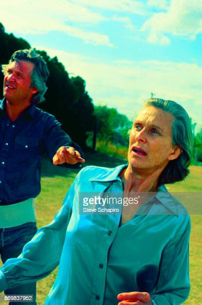 American actress Cloris Leachman with Jeff Bridges behind her in a scene from the film 'Texasville' Texas 1990