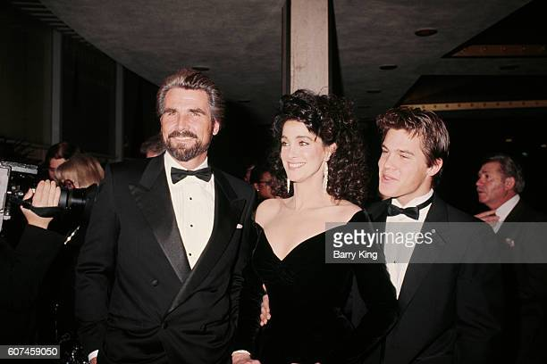American actress Connie Sellecca with actors James Brolin and his son Josh