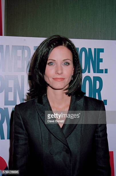 American actress Courteney Cox at the UK premiere of Wes Craven's horror film 'Scream' at the Chelsea Cinema London 24th April 1997