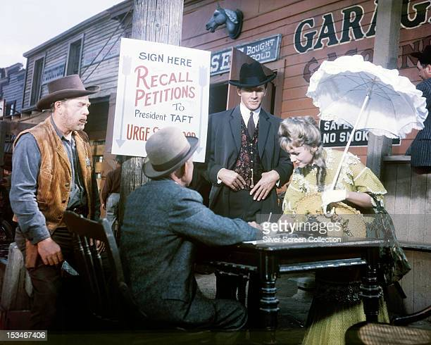 American actress Debbie Reynolds as Lucretia Rogers in the western 'The Second Time Around' directed by Vincent Sherman 1961 Steve Forrest as Dan...