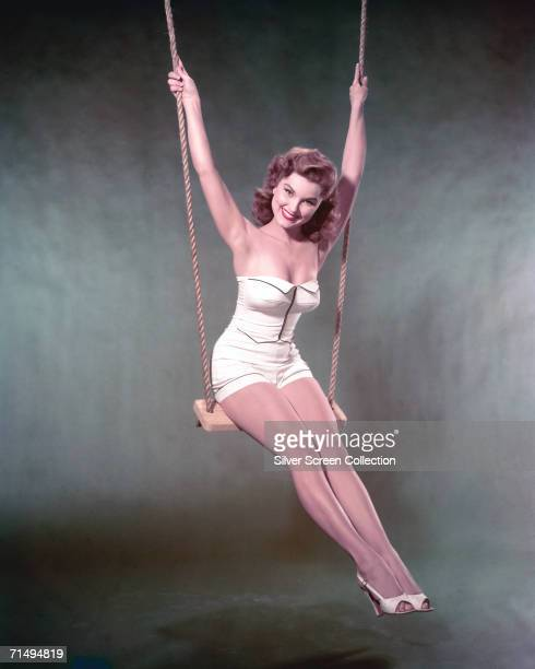American actress Debra Paget in a swimsuit circa 1955