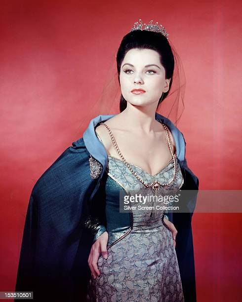 American actress Debra Paget in medieval costume as Ilene in 'Prince Valiant' directed by Henry Hathaway, 1954.