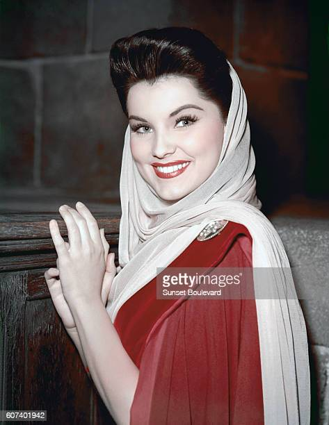 American actress Debra Paget on the set of Prince Valiant directed by Henry Hathaway