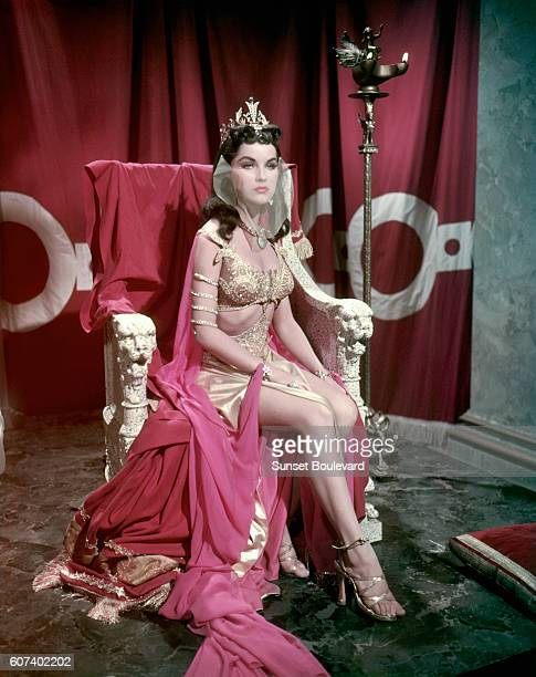 American actress Debra Paget on the set of Princess of the Nile directed by Harmon Jones