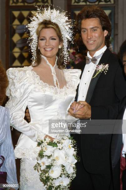 American actress Deidre Hall stars with Drake Hogestyn in a wedding scene from the US soap opera 'Days of Our Lives' circa 2005 Hall plays Dr Marlena...