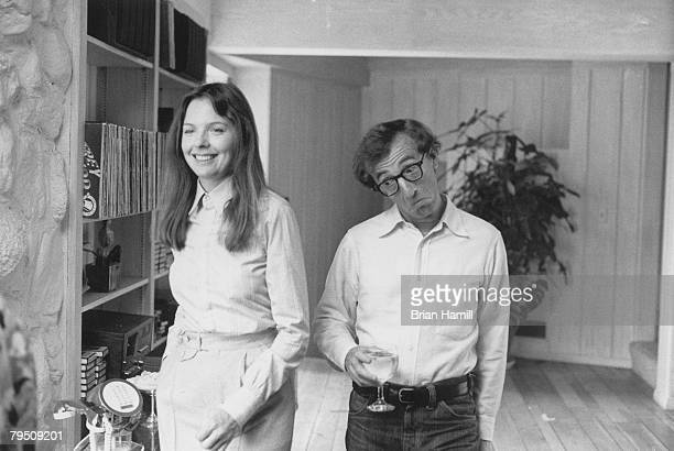 American actress Diane Keaton and actor director Woody Allen on the set of his film 'Annie Hall' New York New York 1977