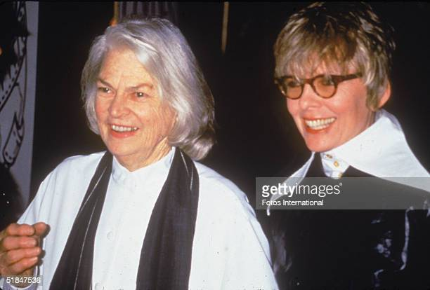 American actress Diane Keaton with an unidentified woman at the 51st Annual Golden Globe Awards held at the Beverly Hilton Hotel Beverly Hills...