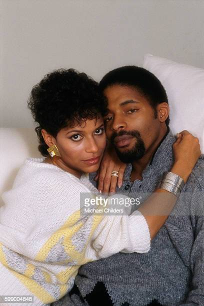American actress director and producer Debbie Allen and her husband Norm Nixon at home in Los Angeles