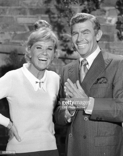 American actress Doris Day and Andy Griffith have a laugh in an episode of 'The Doris Day Show' entitled 'The Hoax' October 6 1972