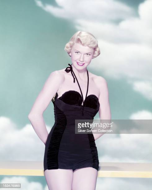 American actress Doris Day in a black onepiece swimsuit circa 1955