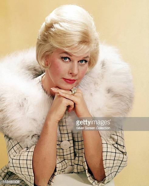 American actress Doris Day in a furtrimmed coat circa 1963