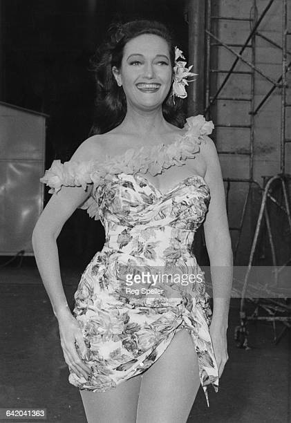American actress Dorothy Lamour films her cameo for the British comedy film 'The Road to Hong Kong' at Shepperton Studios UK 26th September 1961