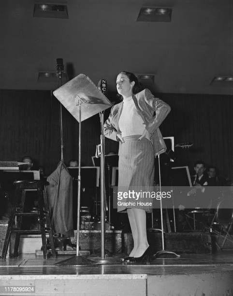 American actress Dorothy Lamour performs on stage at an NBC show circa 1945