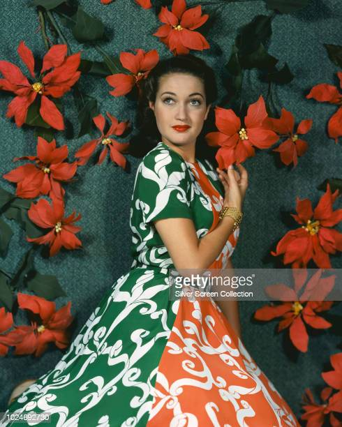 American actress Dorothy Lamour wearing a brightlypatterned dress circa 1945