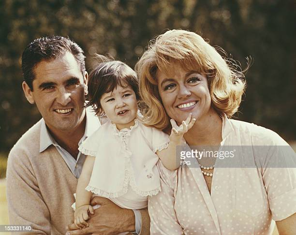 American actress Dorothy Malone with her husband French actor Jacques Bergerac and their daughter Mimi circa 1960