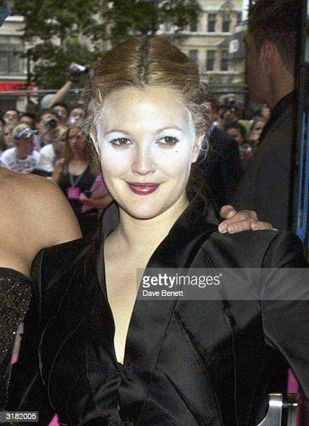 American actress Drew Barrymore arrives at the UK premiere of the film 'Charlie's Angels 2 Full Throttle' at the Odeon Cinema Leicester Square on...