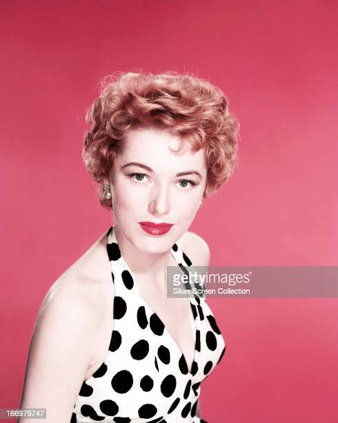 American actress Eleanor Parker wearing a black and white polka dot top circa 1950