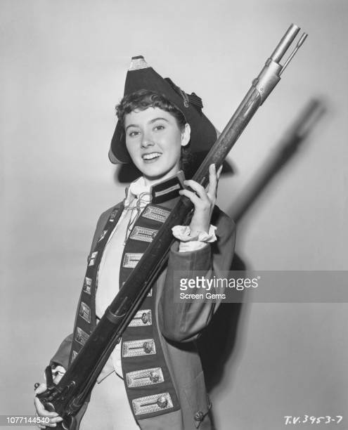 American actress Elinor Donahue in costume as a soldier of the American Revolutionary War in a publicity still for 'The Historical Andersons' an...