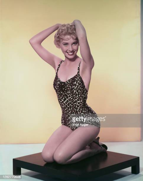 American actress Elinor Donahue wearing a leopard print swimsuit circa 1959 She is starring in the MGM film 'Girls Town'