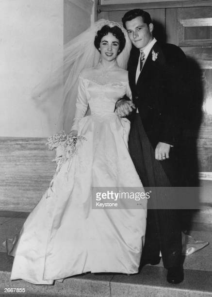 American actress Elizabeth Taylor and hotelier Conrad Hilton after their wedding in Hollywood