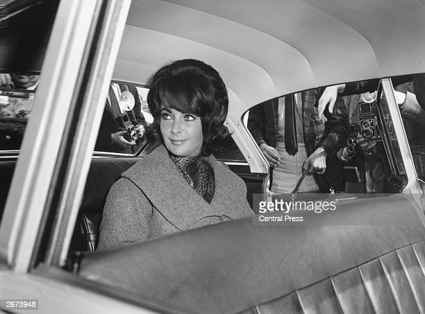 American actress Elizabeth Taylor on her arrival at London Airport from Rome for the shooting in Britain of her latest film 'Cleopatra'