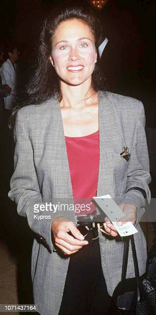 American actress Erin Gray attends a red carpet event circa 1990