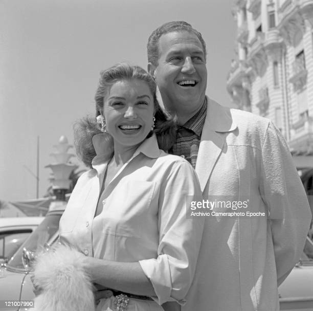 American actress Esther Williams portrayed with her second husband Ben Gage in Cannes 1945