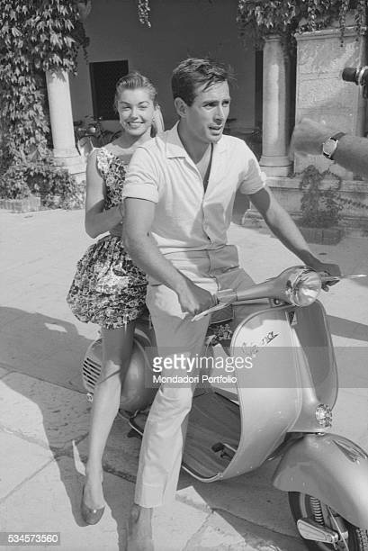 American actress Esther Williams smiling on a Vespa during the XVIII Venice International Film Festival Venice 1957