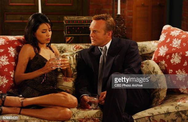 American actress Eva Longoria shares an intimate drink with Doug Davidson in a scene from Episode of 'The Young and the Restless' Los Angeles CA July...