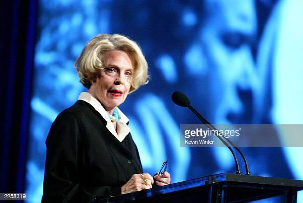 American actress Evans Evans speaks in tribute of her late husband director John Frankenheimer during the 2002 Television Critics Association Awards...