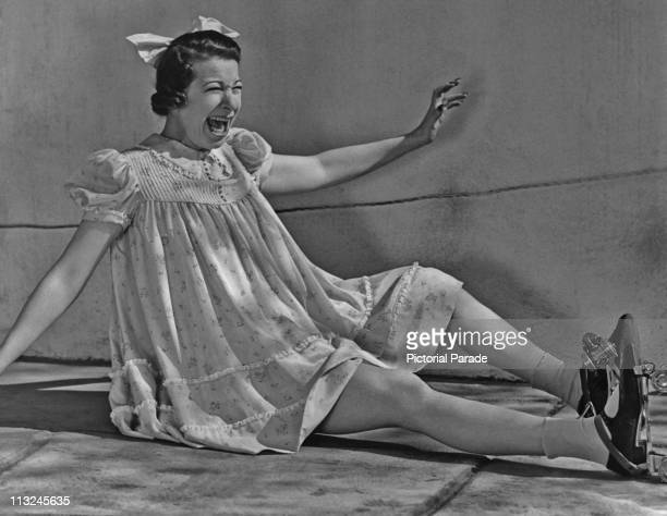 American actress Fanny Brice as 'Baby Snooks' wearing roller skates in July 1938
